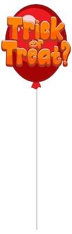 Doces ou travessuras design de texto em balão vermelho