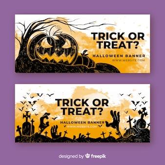 Doces ou travessuras em aquarela banners de halloween