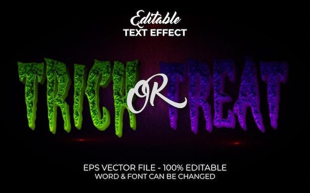Doces ou travessuras estilo de efeito de texto efeito de texto editável tema de halloween