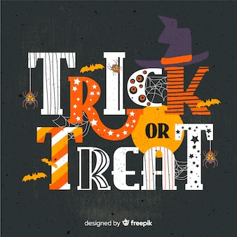 Doces ou travessuras fundo de letras de halloween