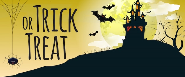 Doces ou travessuras letras com castelo, morcegos e aranha