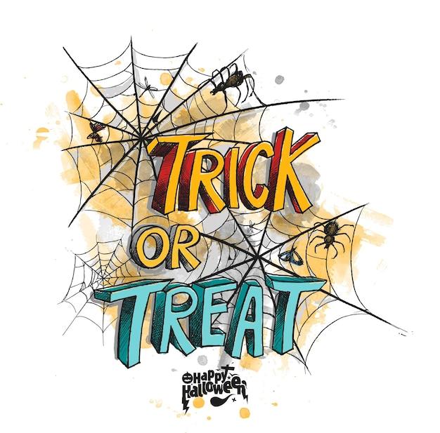 Doces ou travessuras para design de cartaz de halloween com fundo de rede de aranha.