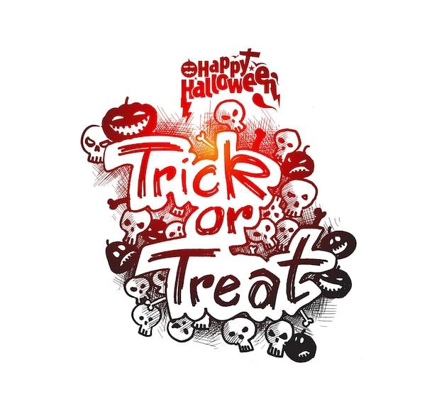 Doces ou travessuras texto para halloween poster design.