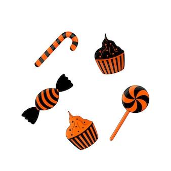 Doces para o halloween preto e laranja, isolados no fundo branco.