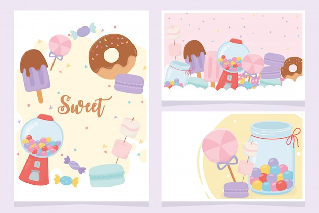 Doces produtos donut sorvete biscoitos doces caramelo açúcar sobremesa
