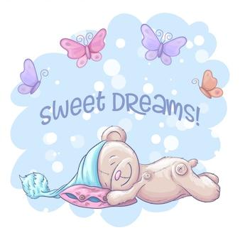 Doces sonhos com urso dormindo bonitinho e borboletas. estilo dos desenhos animados.