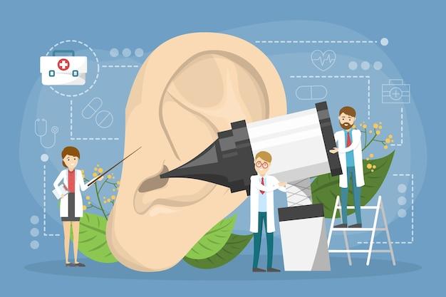 Doctore faz o conceito de exame de ouvido. ideia de tratamento médico