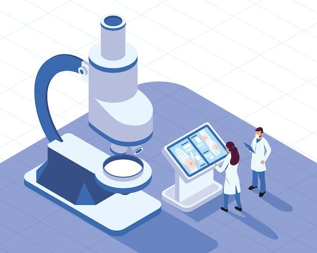 Doctos médicos com microscópio