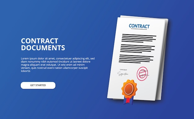 Documente a ilustração do ícone de papel do arquivo de contrato com medalha de certificado