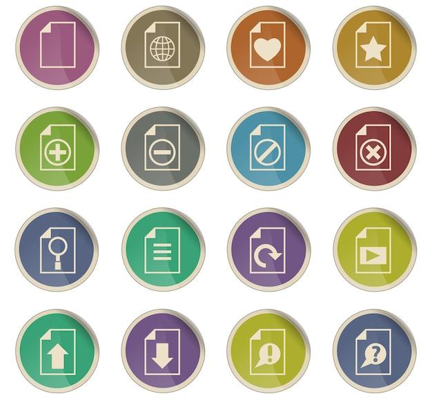 Documente ícones vetoriais na forma de etiquetas redondas de papel