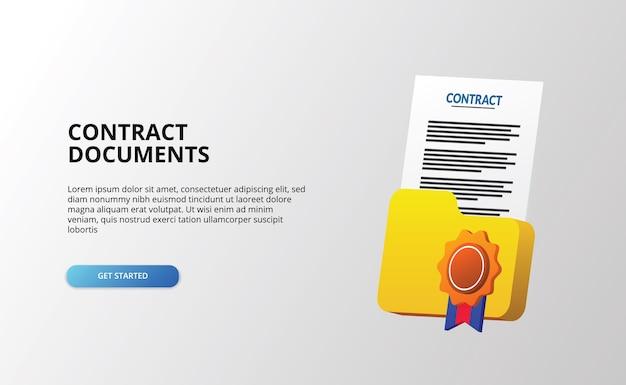 Documente o papel do arquivo do contrato e a ilustração do ícone da pasta com medalha de certificado