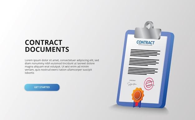 Documente o papel do arquivo do contrato e o ícone do relatório da área de transferência com a medalha do certificado