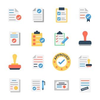 Documento aprovado e ícones de verificação de documento