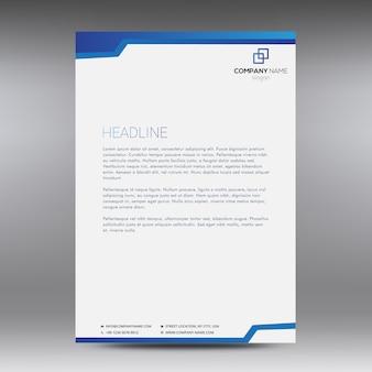 Documento comercial branco com detalhes azuis