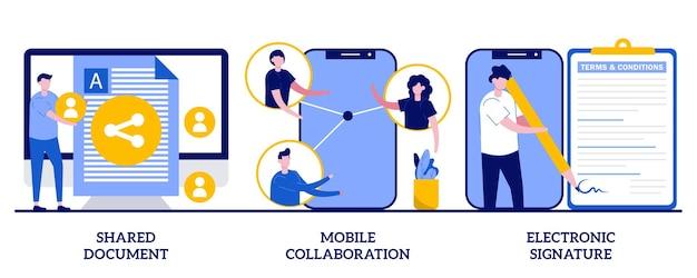 Documento compartilhado, colaboração móvel, conceito de assinatura eletrônica