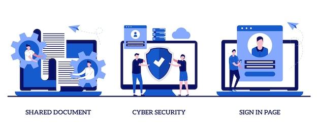 Documento compartilhado, segurança cibernética, conceito de página de login com personagem