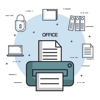 Documento da impressora de escritório documento cópia ícone do objeto de trabalho