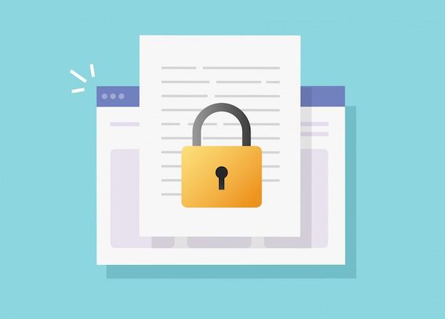 Documento da web seguro on-line confidencial acesso no site internet vector isolado ou proteção de bloqueio de privacidade digital no ícone plana de arquivo de texto