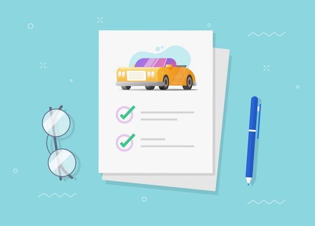 Documento de apólice de seguro de carro ou veículo com lista de verificação