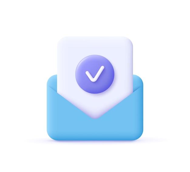 Documento de conceito de aprovação de ícone de marca de seleção e envelope postal