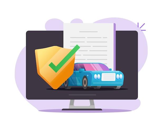 Documento de contrato de proteção de cobertura de seguro automóvel online