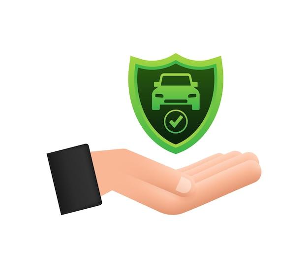 Documento de contrato de seguro de carro sobre as mãos. ícone de escudo. proteção. ilustração em vetor das ações.