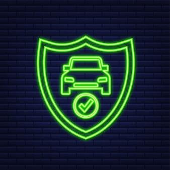 Documento de contrato de seguro. ícone de escudo. ícone de néon. proteção. ilustração em vetor das ações.