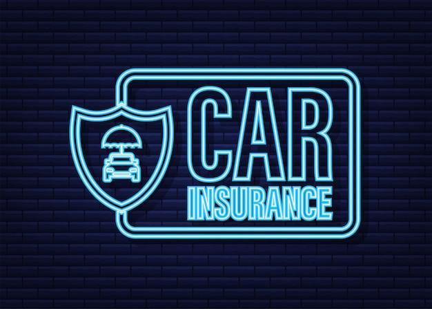 Documento de contrato de seguro. ícone de escudo. proteção. ícone de néon. ilustração em vetor das ações.