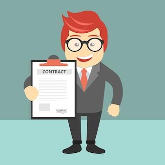 Documento de contrato e contrato