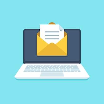 Documento de e-mail no notebook