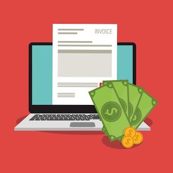 Documento de fatura e laptop