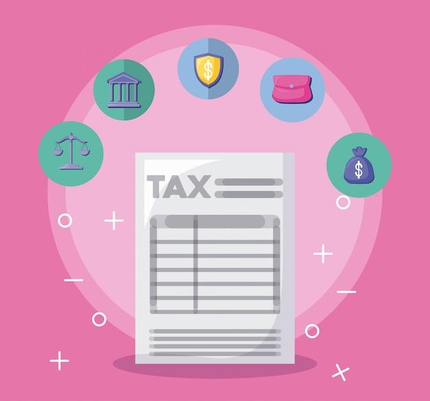 Documento de imposto com economia e financeiro