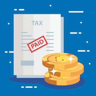 Documento de imposto pago com moedas de pilha
