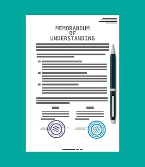 Documento de memorando de entendimento. documentos jurídicos mou. papel de acordo de contrato em branco com selo. caneta esferográfica.