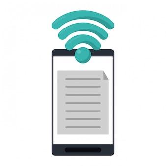 Documento de música de smartphone com o símbolo de wifi