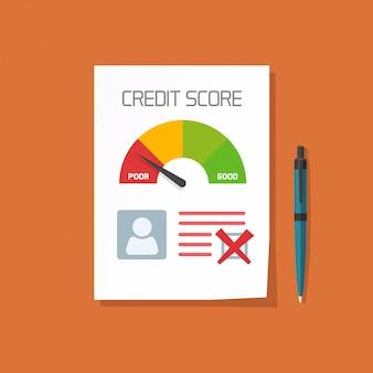 Documento de pontuação de crédito ruim com conceito de selo não aprovado