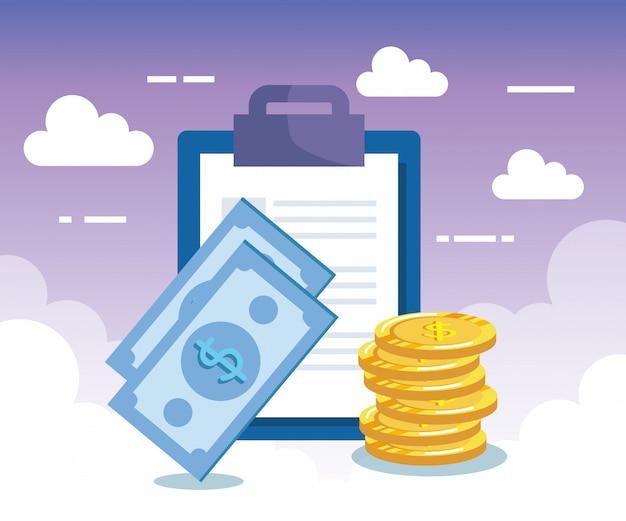 Documento de relatório com notas e moedas de dinheiro