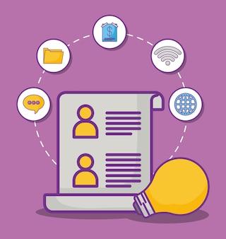 Documento e bulbo com ícones relacionados com marketing on-line