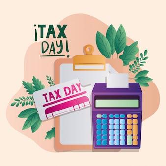 Documento e calculadora do dia do imposto