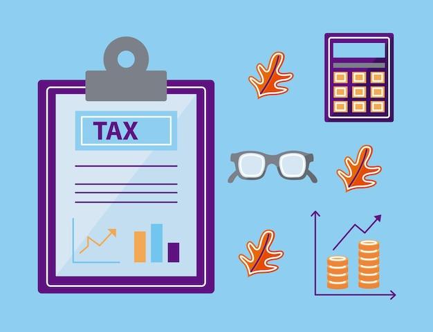 Documento fiscal com conjunto de ícones
