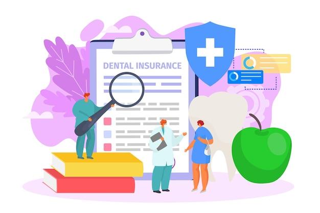 Documento médico de seguro dentário para ilustração de cuidados de saúde de pessoas