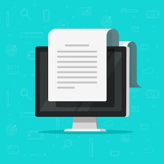 Documento on-line eletrônico no computador