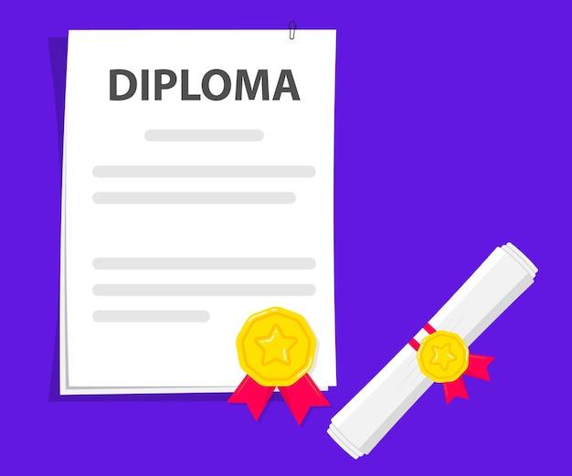 Documento. rolo de papel diploma enrolado e desenrolado com carimbo. certificado de grau de sucesso de ex-alunos de graduação em universidade, faculdade ou escola e conclusão de curso. teste de graduação em branco com fita vermelha