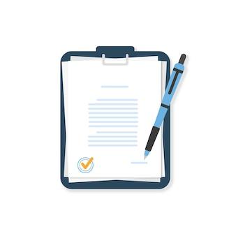 Documentos com caneta em uma pasta azul. acordo.