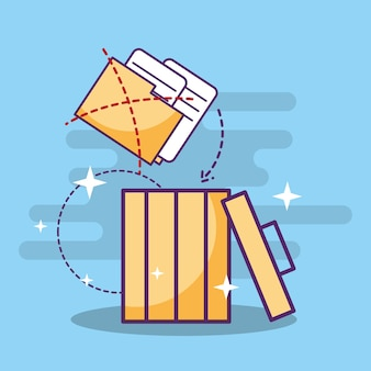 Documentos de arquivos de pasta na lata de lixo