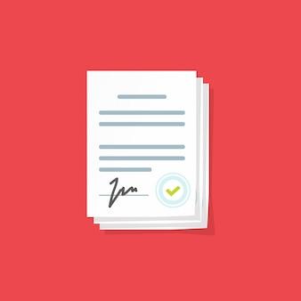 Documentos de contrato ou contrato legal com assinatura e ilustração vetorial de carimbo