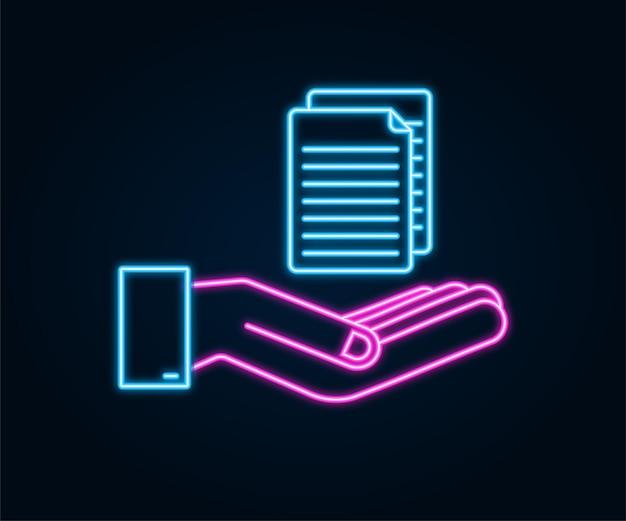 Documentos de documentos em estilo simples nas mãos. desenho vetorial. ícone de negócios. design de néon.