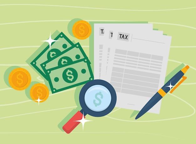 Documentos fiscais, notas e moedas de lupe