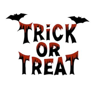 Doçura ou travessura. citação tradicional de halloween. letras pretas com manchas de sangue e dois morcegos. isolado no fundo branco.