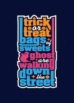 Doçura ou travessura poema de citação de tipografia de halloween